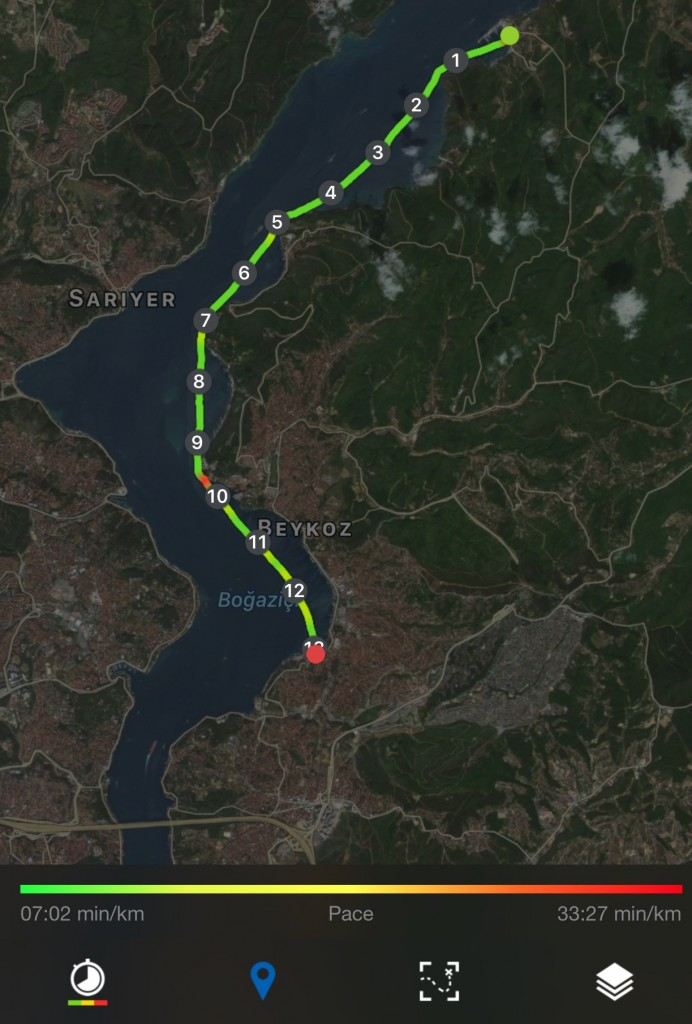 Poyrazkoy-Pasabahce Distance 13.12 km, Average speed 4.5kph, Max 9.8 kph